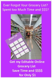 Ever Forget Your Grocery List? Get my Editable Online Grocery List and Save Time and Money